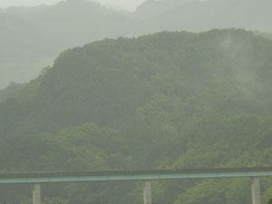 高速道路と山には霧が立ち込めています