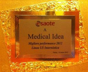 Marzo 2013 - Medical Idea Srl - Premio Miglior Performance 2012 Linea Ultrasuoni Internistica Esaote S.p.A.