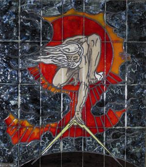 Reproduction en céramique d'une estampe réalisée par William Blake (1757-1827) montrant la création du monde, ici le compas symbolise l'esprit créateur.