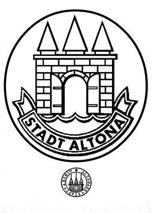 Malbogen mit dem Altonaer Stadtwappen zum Ausmalen
