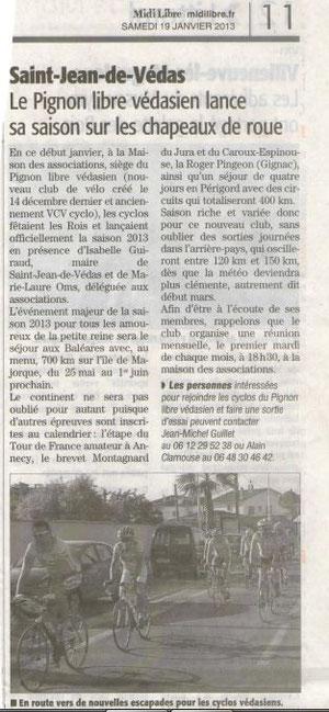 Article Midi Libre du 19 janvier 2013