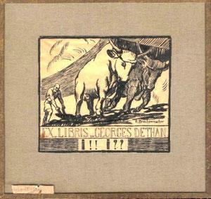 Voici l'original de son Ex Libris qui représentait aussi le Laboratoire. Dessins de Brechenmacher, très connu à l'époque (d'ailleur cité dans le Benezit).