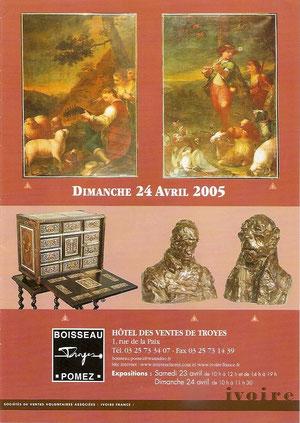 Vente à troyes en 2005, lot N° 131, aquarelle représentant un Vase de rose.