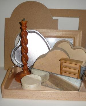 ...d'autres supports, pendule, cadre, pied de lampe, jardinière entole, boites...