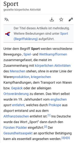 Definition Sport, Quelle: Wikipedia