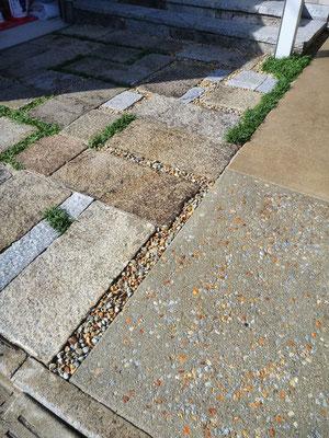 御影石,敷石,洗い出し,錆砂利
