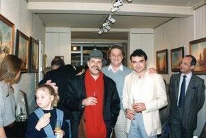 avec les peintres ducio berti et thierry vieux sous le regard amusé de roger betti -1991