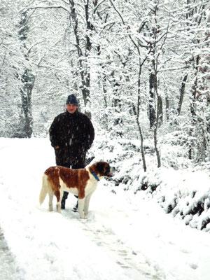 entre deux tableaux, promenade avec le chien - 2006