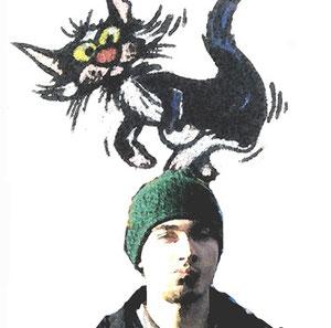 Manchmal sieht es so aus, als ob Stefan eine Katze auf dem Kopf hat