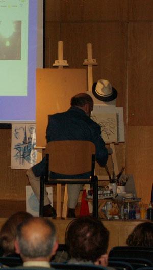 Pintando en directo.