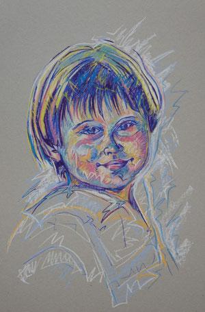 retrato de niño. pastel con técnica mixta