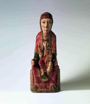 Virgen de Ger, SXII talla de madera policromada al temple y relieves de estuco, procede de Santa Coloma de Ger, Gerona.