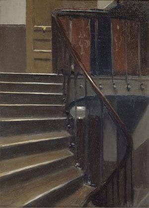 Escalera en el 48 de la Rue de Lille, Paris.1906.Óleo sobre tabla.33x23.Whitney Museum  of American. Legado de Josephine Hopper, su mujer.