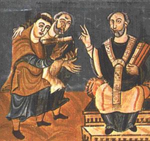 Alcuino de York, maestro de la escuela palatina en la corte de Carlomagno