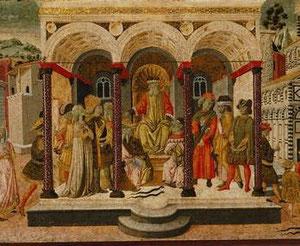 Panel central. Se lee de izquierda a derecha, en el momento que el cónsul Tiberio Graco descubre en el domicilio familiar dos víboras enlazadas, motivo que le lleva a consultar al oráculo...