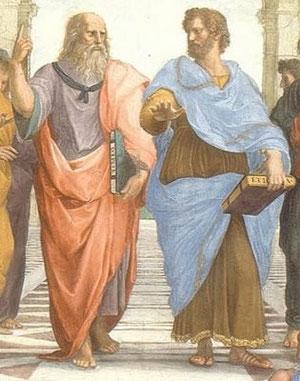 Platón y Aristóteles. Escuela de Atenas. Detalle