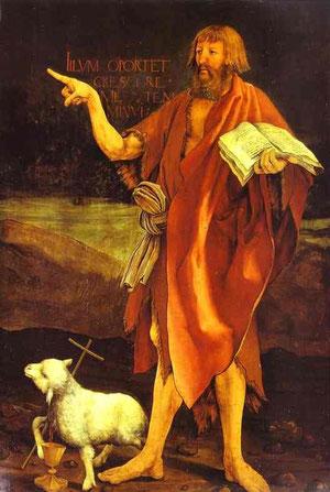 San Juan Bautista, es inusual testigo de la Crucifixión, ya que estaba muerto en ese momento, pero la elección iconográfica, quizá obra de Guido Guersi, preceptor del convento de hospitalarios 1490-1516.