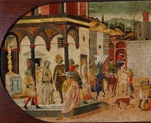 Detalle del panel anterior parte izquierda.Con elegantes vestimentas se ilustra un pasaje de  la vida de Tiberio Graco extraida de Plutarco.