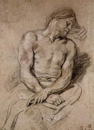 Lápiz negro realzado con claricón, toques de sanguina y lápiz negro.1618 Van Dyck