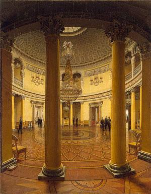 Yefim Tujarinov, 1834, Rotonda del Palacio de Invierno. Firmado en la base de la columna. Servía de vestíbulo entre las habitaciones privadas y la zona pública. El autor recibió de la emperatriz una sortija por esta obra.