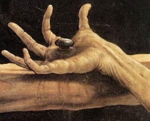 Detalle de la Crucifixión de Matthias Grünewald, retablo sobrecogedor por el que Dalí hacía votos de encontrar la fe en la resurrección de la carne.