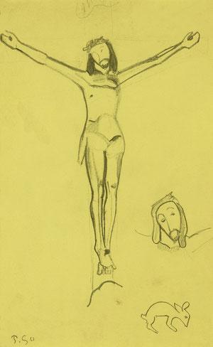 Estudio sintético y magistral de este Cristo doliente de la Capilla de Trémalo que simplificó en este dibujo repasando contornos con trazo intenso. Colección Carmen Thyssen. Lápiz sobre papel.26x18cm