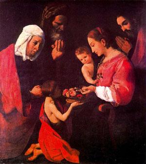 Sagrada familia.Santa Ana, San Joaquin y San Juan Bautista. Zurbarán
