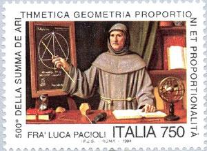 Sello italiano con Fra Luca Pacioli