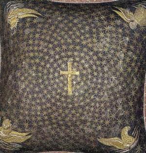 Bóveda celeste con la cruz y Tetramorfos,símbolo de los 4 evangelistas,Lucas-toro,Mateo-ángel,Marcos-león y Juan-águila. Mosaicos de Gala Placidia, SV
