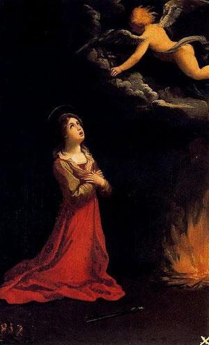 Guido Reni, Santa Apolonia en oración.1600.Óleo sobre lámina de cobre.28x20cm.Colección Real.
