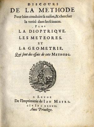 Descartes, Discurso del Método,considerada obra fundamental de la filosofía.
