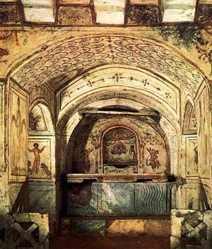 Catacumbas de San Calixto en Roma, es una de las más antiguas, 217 d.C.