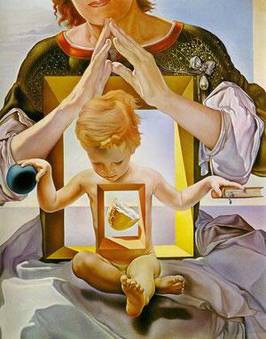 """Todo un código figurativo preciso que Dalí describe como """"tabernáculo en el cuerpo de Jesús que contiene el pan sagrado"""" El niño apoya sus manos..en la Palabra y Universo."""