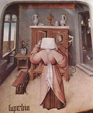 Detalle de los 7 pecados capitales-El Bosco representa de forma simbólica los placeres terrenales con LA SOBERBIA O VANIDAD de una mujer acicalándose con un espejo que sostiene el mismo demonio.