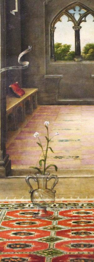 ...En el centro de los dos personajes,un jarro de cristal con una flor de lis que termina con tres flores, se refiere a la triple virginidad de María. (Ante partum -in partum -post partum))