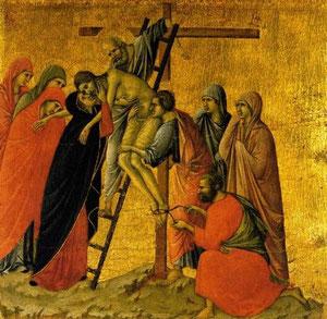 Descendimiento Duccio di Buoninsegna 1308-1311. Pintura sobre tabla ,Siena