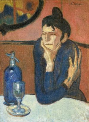 Pablo Picasso. La bebedora de absenta. oleo sobre lienzo.1901.La representación de mujeres solitarias ante la mesa de un café son frecuentes. La postura clave de la mano izquierda que apoya la barbilla.