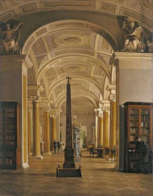 Biblioteca del Hermitage, Alekséi V. Tyranov. Óleo sobre lienzo 94x73. El autor especialista en vistas interiores y cuadros de género y retratos fue nombrado académico en 1839. No se haconservado el interior de esta biblioteca, pues se demolió entera.