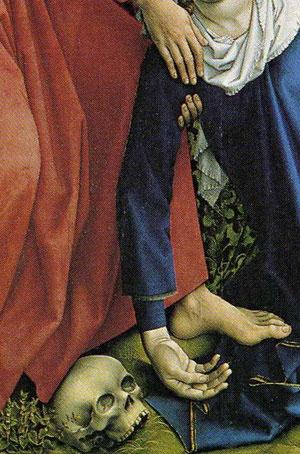 Detalle de calavera. Descendimiento de Roger van der Weyden
