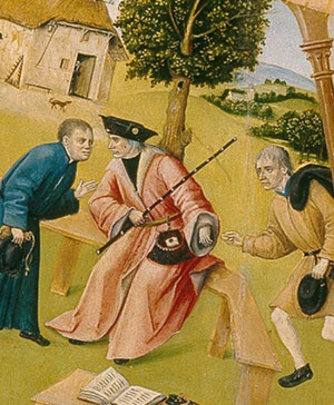 Detalle de la AVARICIA con que un juez, lejos de impartir justicia, acepta de buena gana el soborno de una de las partes, ilustrando los placeres terrenales de una forma inconsciente.