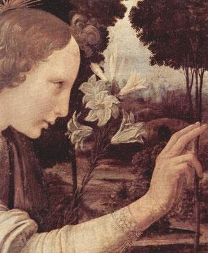 Anunciación. Leonardo da Vinci.Detalle.