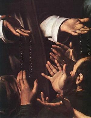 Detalle de la Virgen del Rosario.Caravaggio. Viena