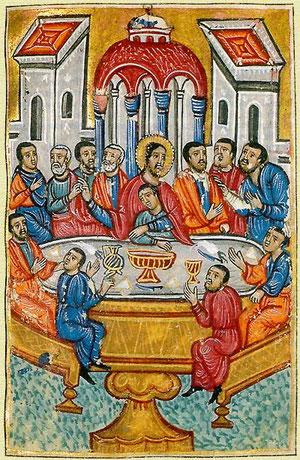 Evangelario de la Biblioteca de Viena en el que aparece un catecumeno arropado por Jesús antes de recibir la iniciación cristiana.