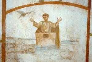 Noé en el arca: conceptual:Noé en una especie de cajón y la paloma anunciando que el diluvio ha finalizado.