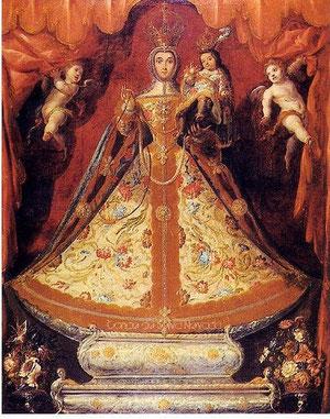 Cristobal de Villalpando, novohispano, Virgen del Rosario, 1690, Templo de San Felipe Neri, Méjico