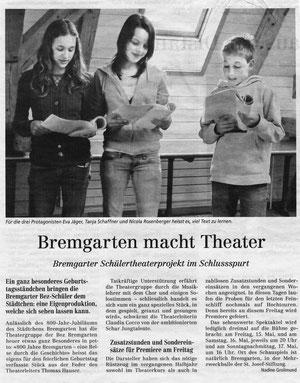 Ankündigung der Theateraufführungen 2009