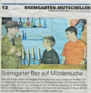 Ankündigung in der Aargauer Zeitung