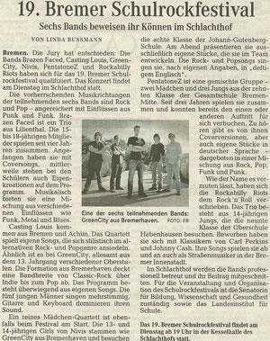 Weserkurier - Vorbericht zum Schulrockfestival 2012