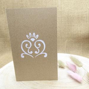 Couverture du faire-part mariage pop-up coeur volutes