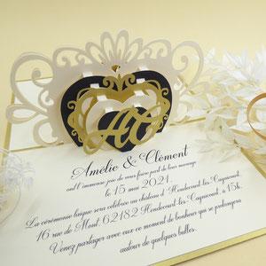Faire-part mariage pop-up coeur avec initiales personnalisées